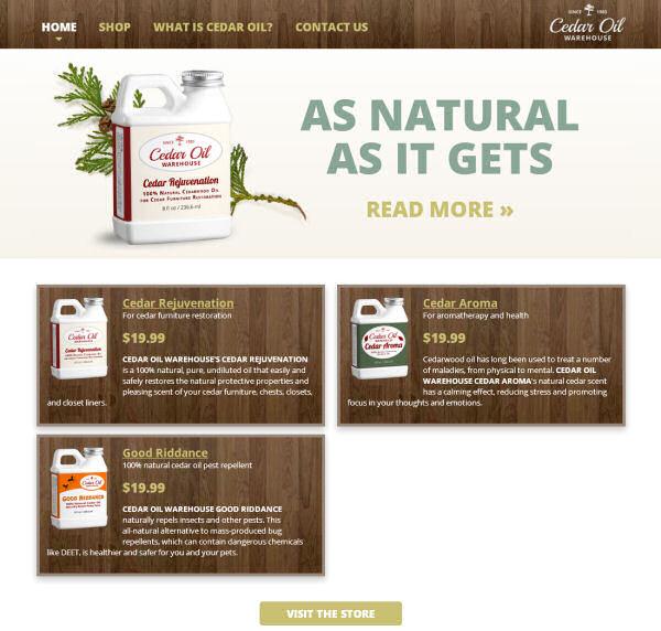 Cedar Oil Warehouse website design